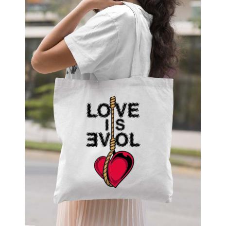Sacosa din panza Love is evil Alb
