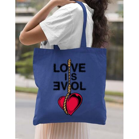 Sacosa din panza Love is evil Albastru regal