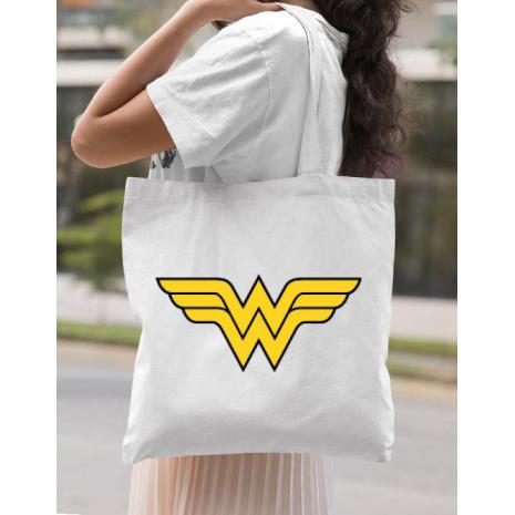 Sacosa din panza Wonder woman Alb