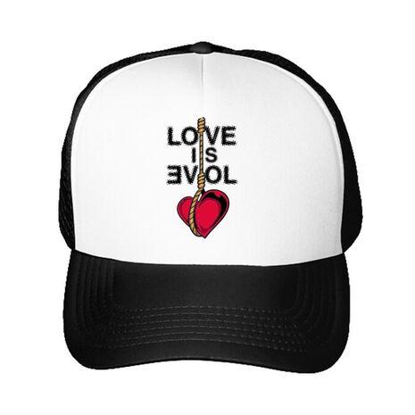 Sapca personalizata Love is evil Alb