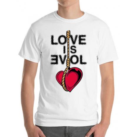 Tricou ADLER barbat Love is evil Alb