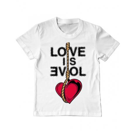 Tricou ADLER copil Love is evil Alb