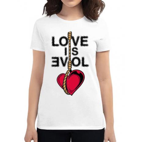 Tricou ADLER dama Love is evil Alb
