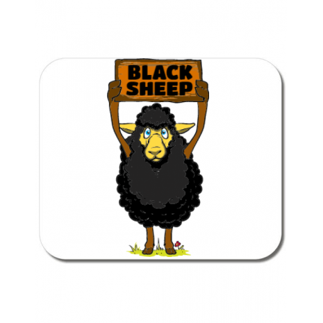 Mousepad personalizat Black sheep Alb