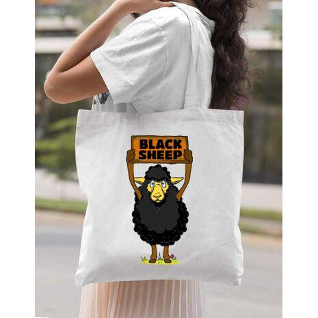 Sacosa din panza Black sheep Alb