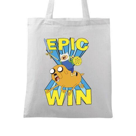 Sacosa din panza Epic win Alb