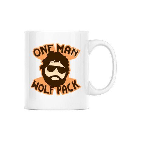 Cana personalizata One man wolf pack Alb