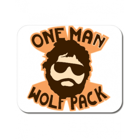 Mousepad personalizat One man wolf pack Alb