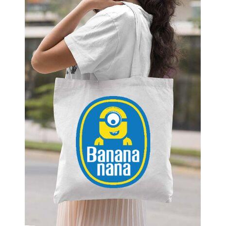 Sacosa din panza Bananana Alb