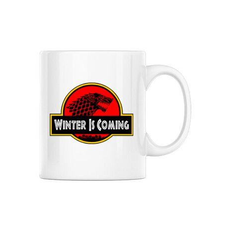 Cana personalizata Jurassic winter Alb