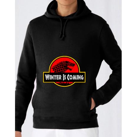 Hoodie barbat cu gluga Jurassic winter Negru