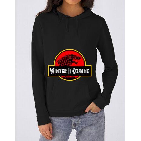Hoodie dama cu gluga Jurassic winter Negru