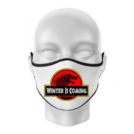 Masca personalizata reutilizabila Jurassic winter Alb