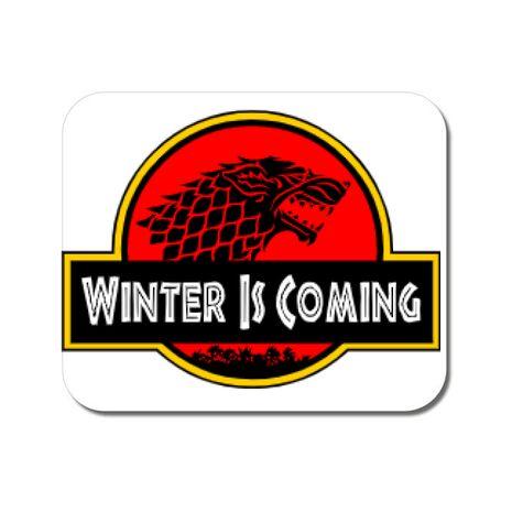 Mousepad personalizat Jurassic winter Alb