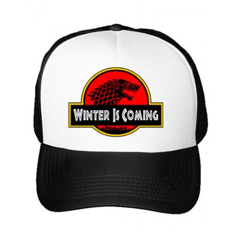Sapca personalizata Jurassic winter Alb