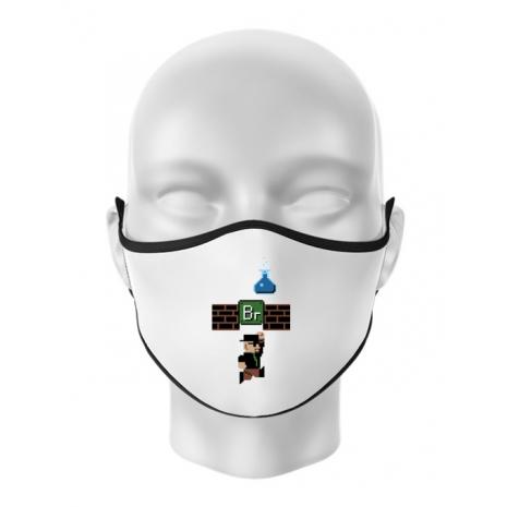 Masca personalizata reutilizabila Breaking Mario Alb