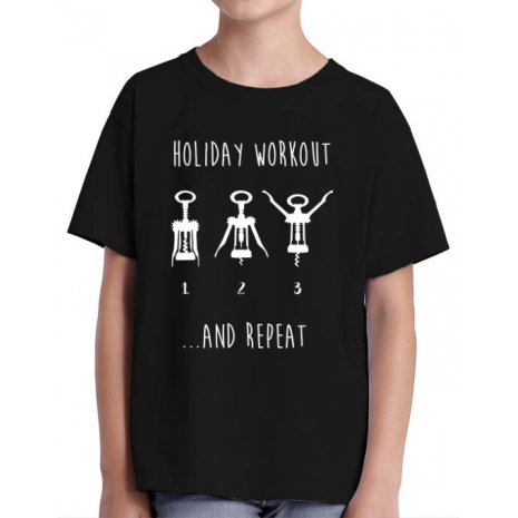 Tricou ADLER copil Holiday workout Negru