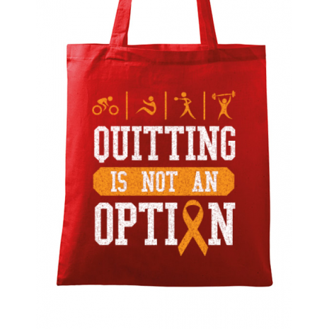 Sacosa din panza Quitting is not an option Rosu