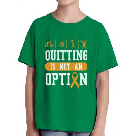 Tricou ADLER copil Quitting is not an option Verde mediu