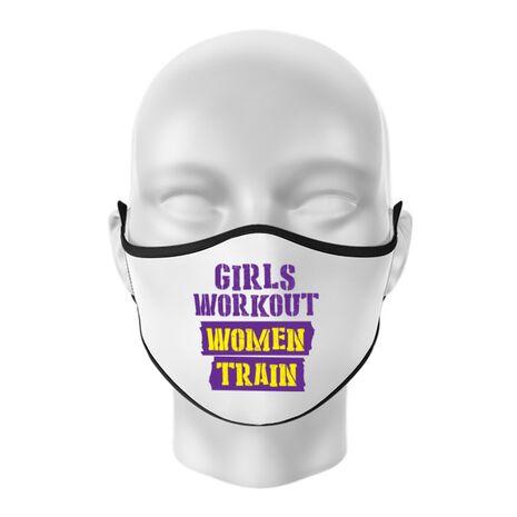 Masca personalizata reutilizabila Women train Alb