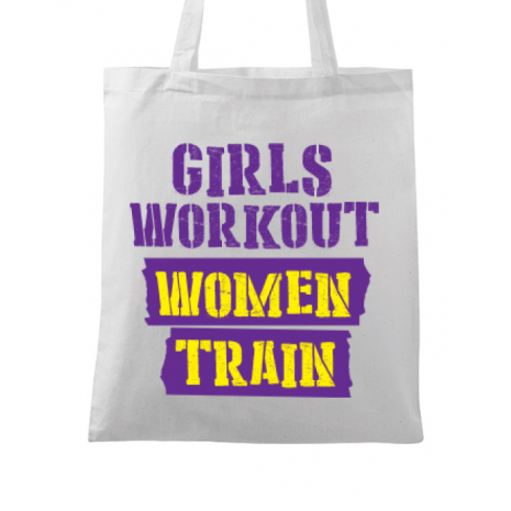 Sacosa din panza Women train Alb
