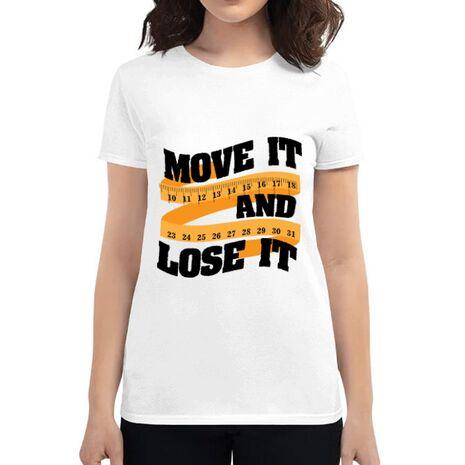 Tricou ADLER dama Move it and lose it Alb