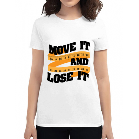 Tricou ADLER dama Move it and lose it Alb