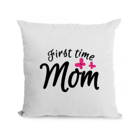Perna personalizata First time mom Alb