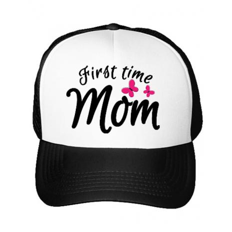 Sapca personalizata First time mom Alb