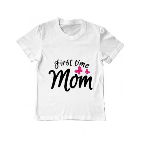 Tricou ADLER copil First time mom Alb