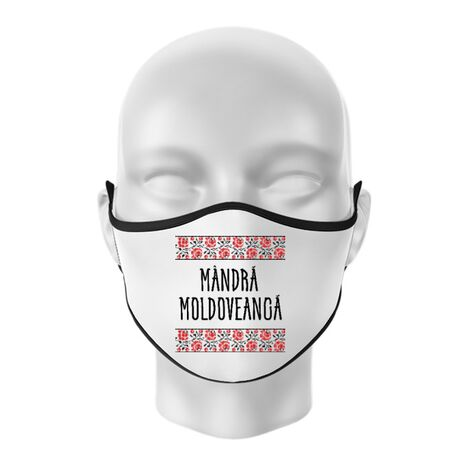 Masca personalizata reutilizabila Mandra moldoveanca Alb