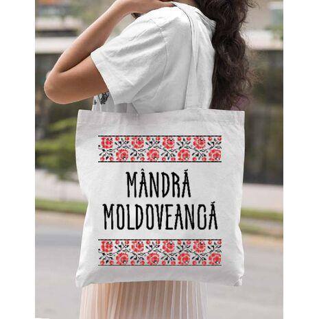 Sacosa din panza Mandra moldoveanca Alb