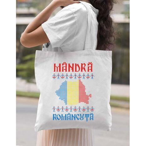 Sacosa din panza Mandra romancuta Alb