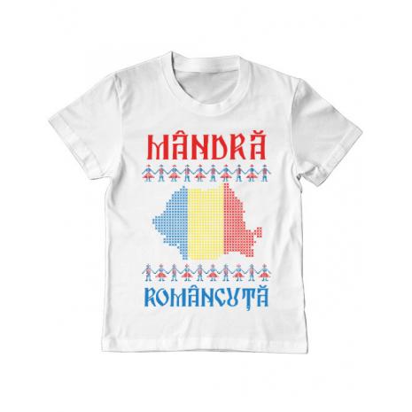Tricou ADLER copil Mandra romancuta Alb