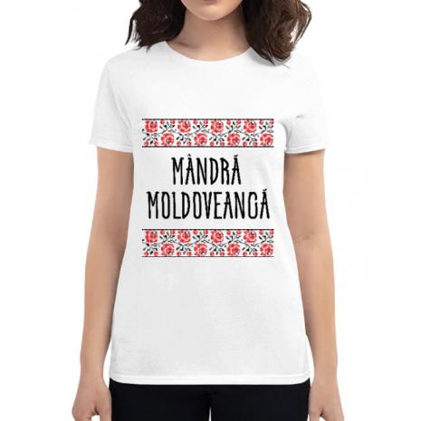 Tricou ADLER dama Mandra moldoveanca Alb