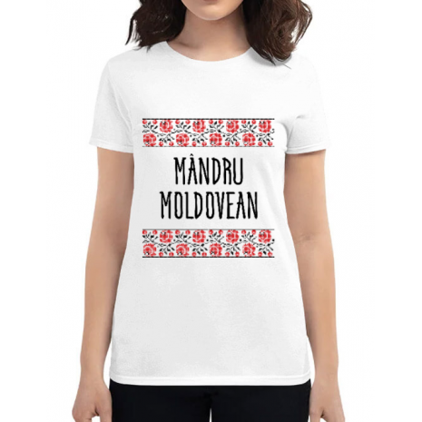 Tricou ADLER dama Mandru moldovean Alb