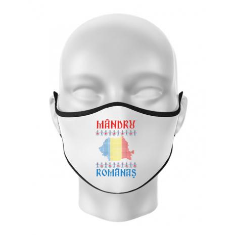 Masca personalizata reutilizabila Mandru romanas Alb