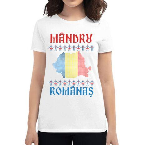 Tricou ADLER dama Mandru romanas Alb