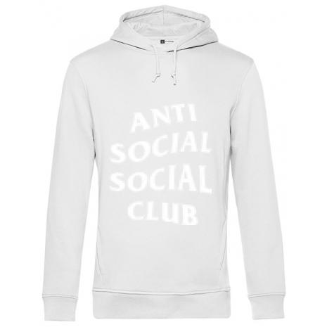 Hoodie barbat cu gluga Anti social Alb