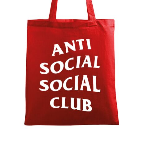 Sacosa din panza Anti social Rosu