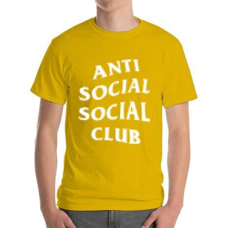Tricou ADLER barbat Anti social Galben