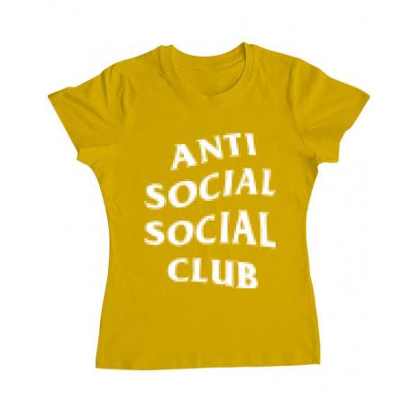 Tricou ADLER dama Anti social Galben