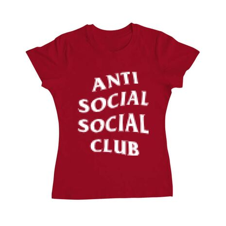 Tricou ADLER dama Anti social Rosu