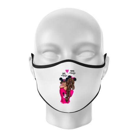 Masca personalizata reutilizabila Mama and baby Mouse Alb