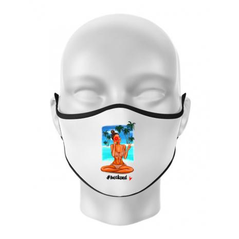 Masca personalizata reutilizabila Weekend Alb