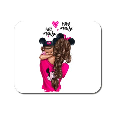 Mousepad personalizat Mama and baby Mouse Alb