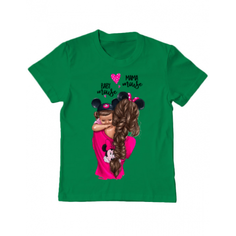 Tricou ADLER copil Mama and baby Mouse Verde mediu
