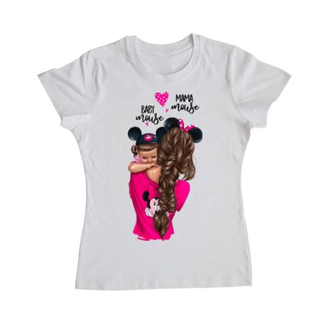 Tricou ADLER dama Mama and baby Mouse Alb
