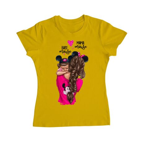 Tricou ADLER dama Mama and baby Mouse Galben