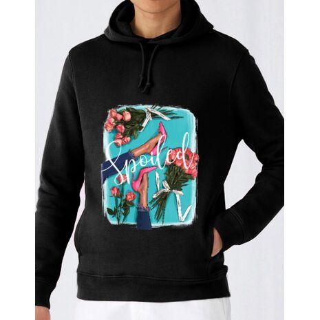 Hoodie barbat cu gluga High Heels and roses Negru